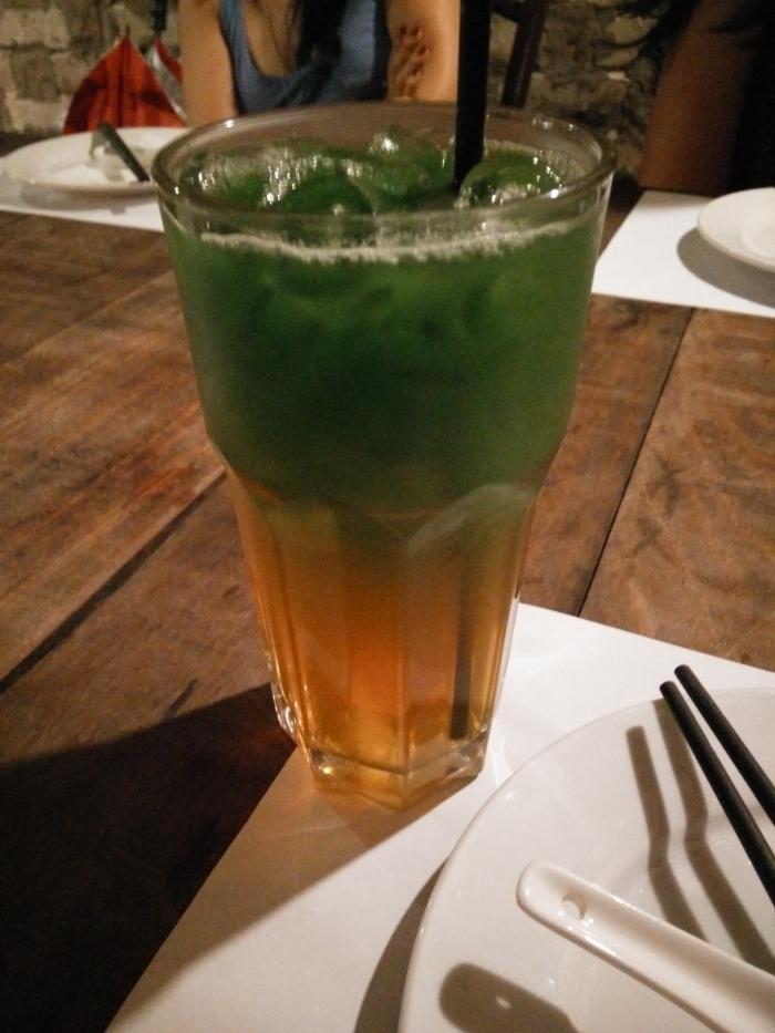 the green stuff is pandan, orange stuff is from gula melaka.