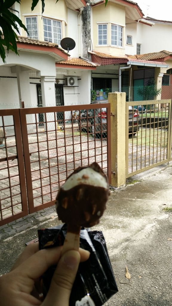after facial I went to zaim's place. I was there 30 minutes early and he left me waiting outside so I got ice-cream when the dude came along with his motorbike